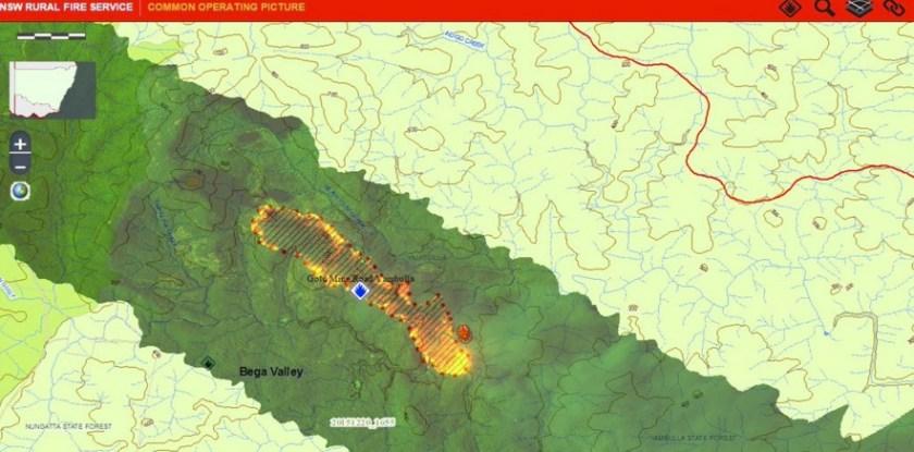 Gold Mine Fire map NSWRFS