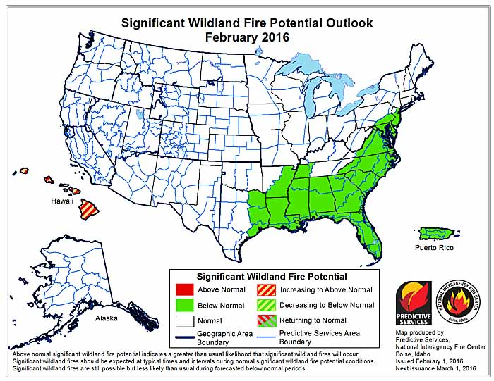 February wildfire potential