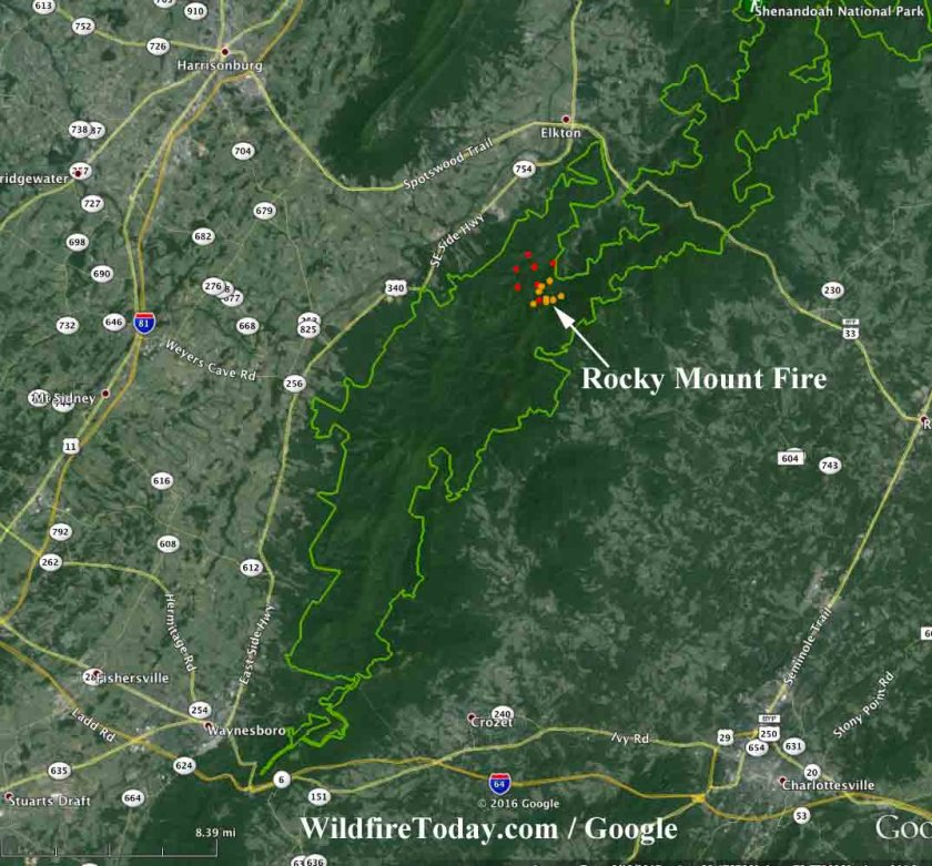 Map of the Rocky Mount Fire