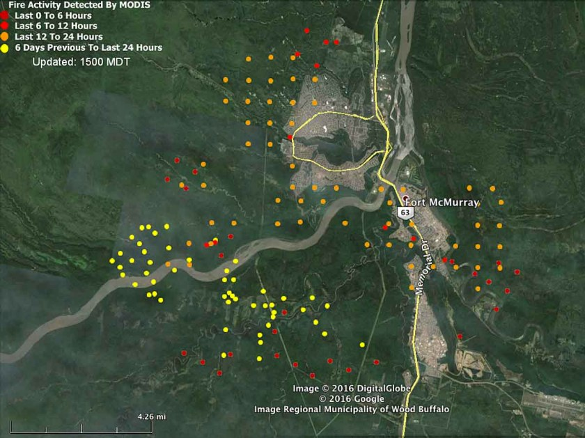 Map Fort McMurray fire