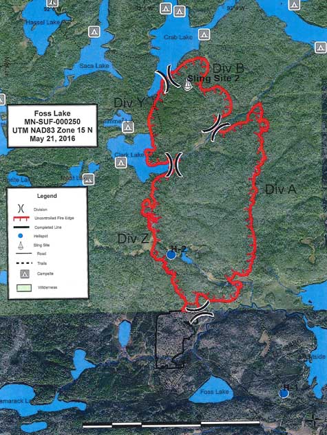 Foss Lake Fire map