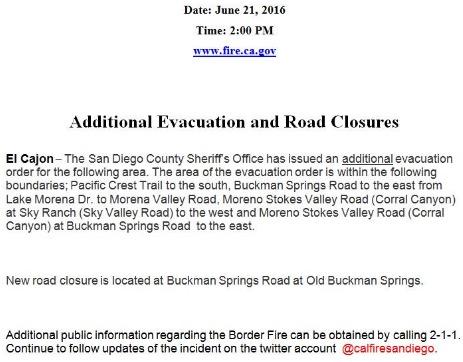 Border Fire new evac