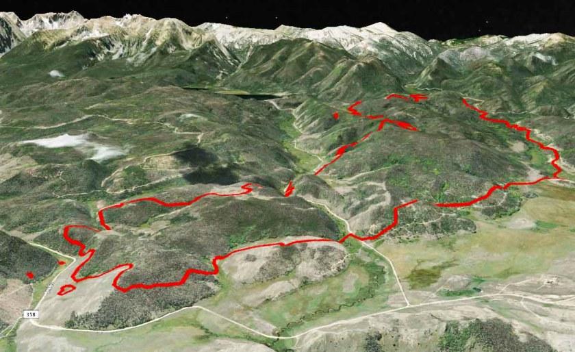 Beaver Creek Fire 3-D map