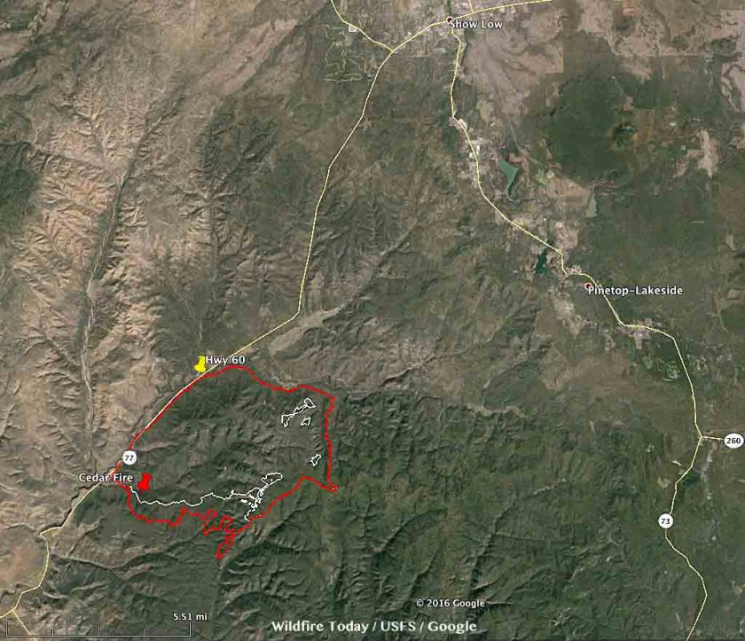 Map Cedar Fire 251 am MDT June 19, 2016