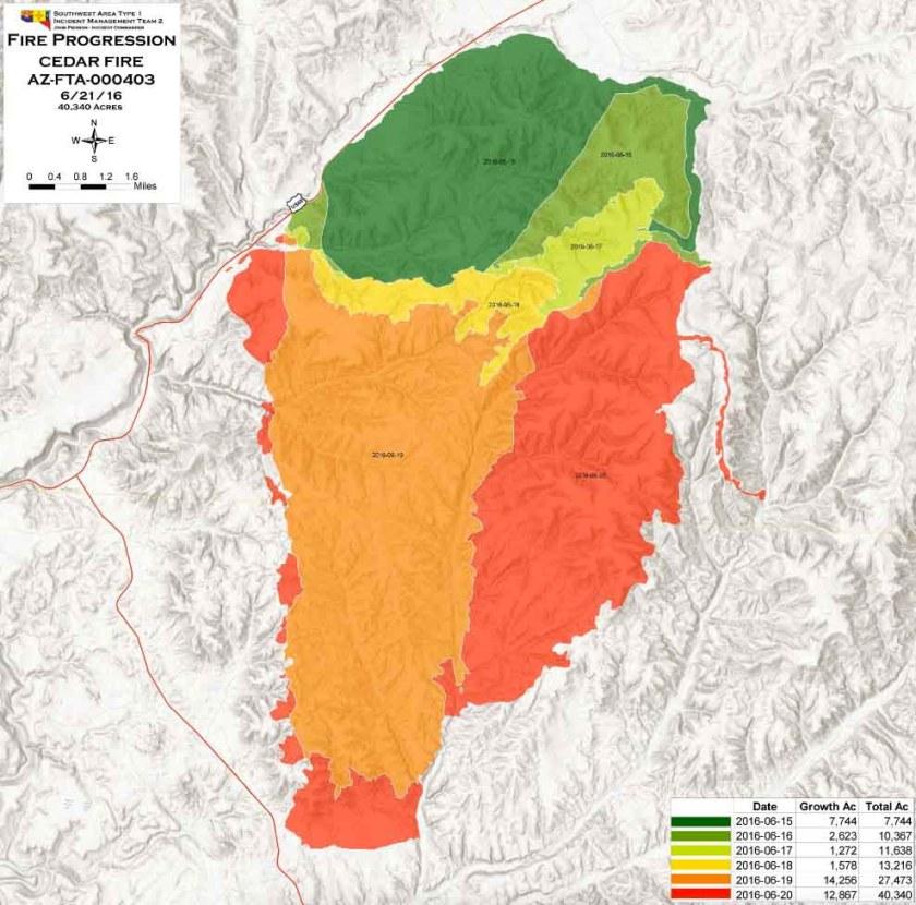 Progression map Cedar Fire
