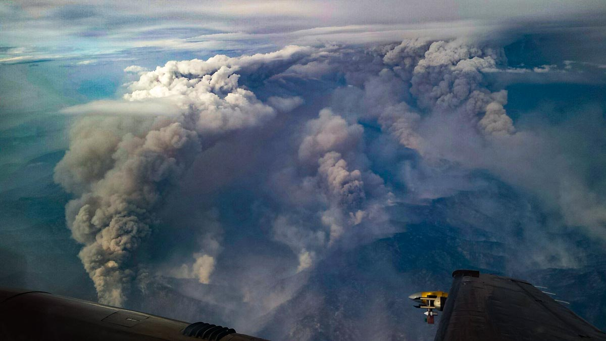 Impressive convection column on Pioneer Fire is being studied by researchers