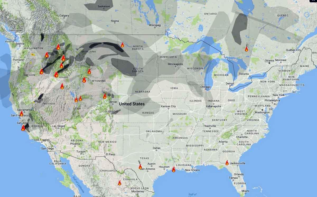 Wildfire Smoke map August 3, 2016