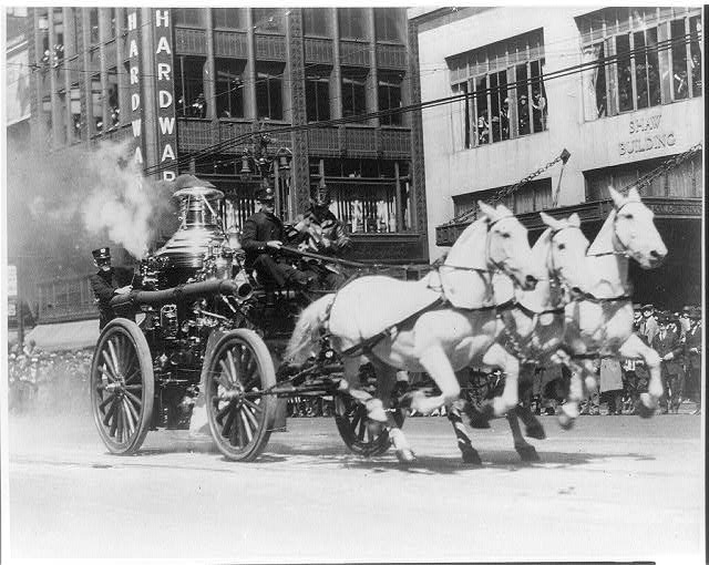 horse pulled fire pumper