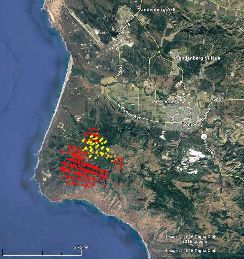 The red dots represent heat detected by a satellite over the Canyon Fire at 1:50 a.m. PDT September 19, 2016. The yellow dots were from 5:50 a.m. on Sept. 18.