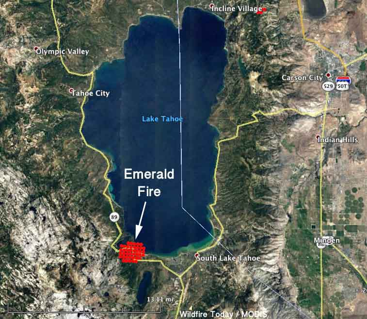 200 Acre Emerald Fire At Lake Tahoe Slowed By Rain Wildfire Today