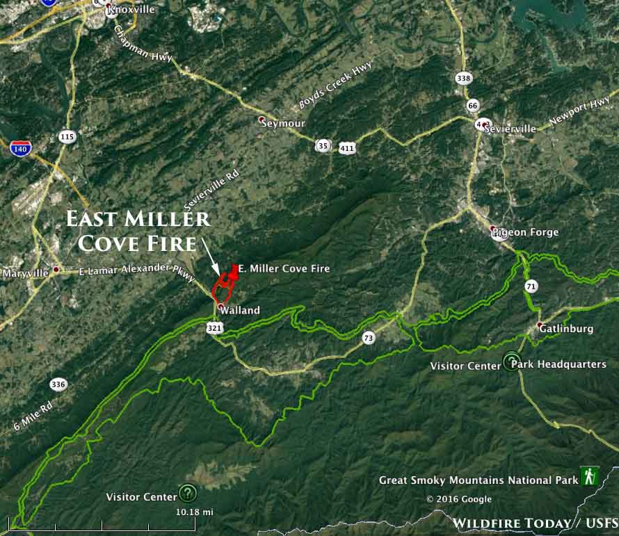 Rapidly spreading fire west of Gatlinburg, TN - Wildfire Today on tennessee map, three way tn map, gatlinburg tennessee, sevierville tn map, florence tn map, roan mtn tn map, kingston tn map, fontana lake tn map, knoxville tn map, hickory valley tn map, gatlinburg cades cove tour, french broad river tn map, fairfield glade tn map, gatlinburg mountain roller coaster, smoky mountains map, douglas dam tn map, pigeon forge tn map, oak ridge tn map, blue ridge mountains tn map, coalfield tn map,