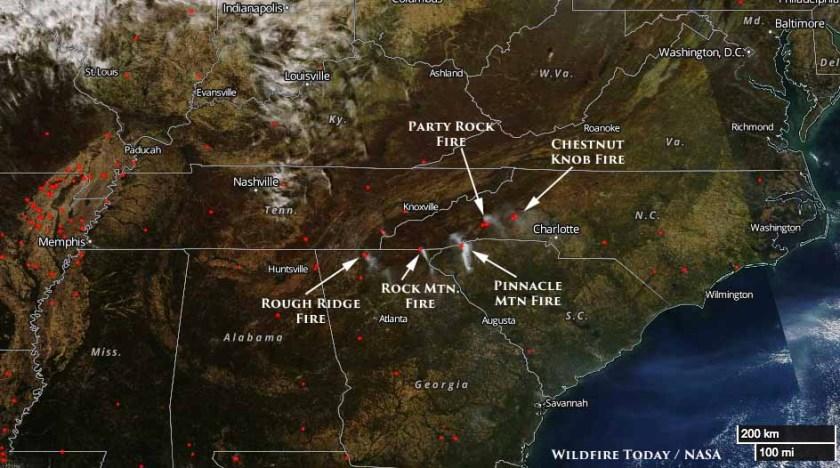 map wildfires fires tennessee north carolina south carolina georgia