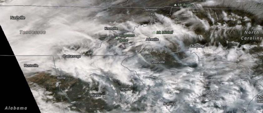 Satellite photo wildfires