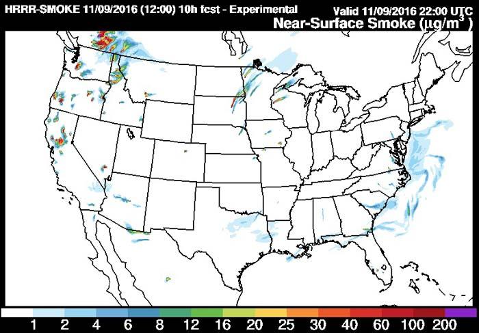 Forecast wildfire smoke