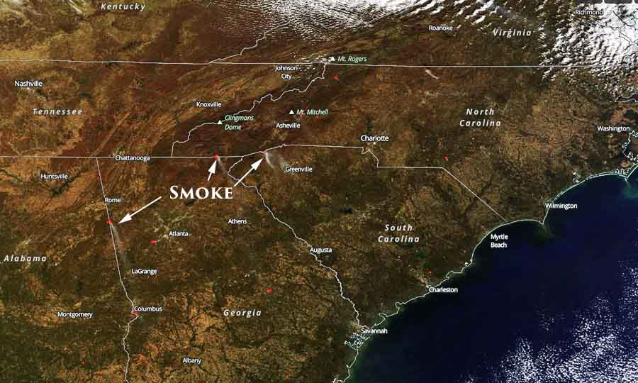 Wildfire smoke decreases in Southeastern U.S. on Sunday, increases on Monday