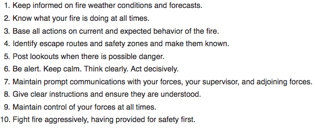 10 standard firefighting orders