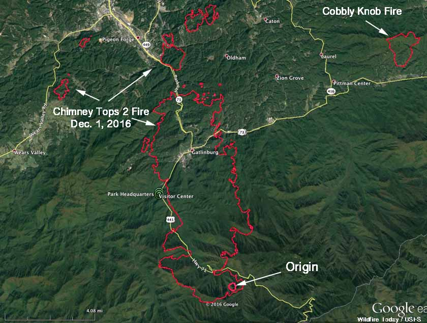 Chimney Tops 2 Fire map Gatlinburg