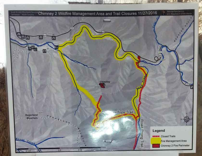 map Chimney Tops 2 Fire