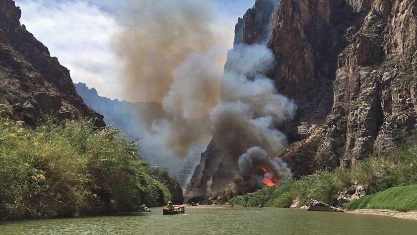 Prescribed fire along Rio Grande River