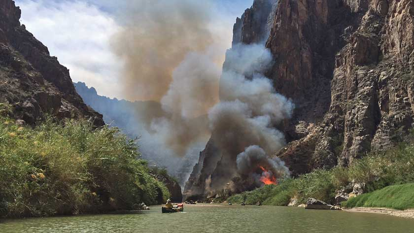 Prescribed fire along Rio Grande River