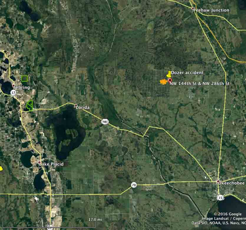map Dozer burnover Okeechobee County
