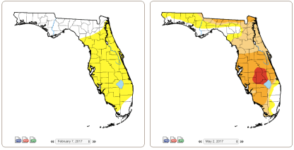 The drought situation in Florida has worsened significantly since February, according to the U.S. Drought Monitor.