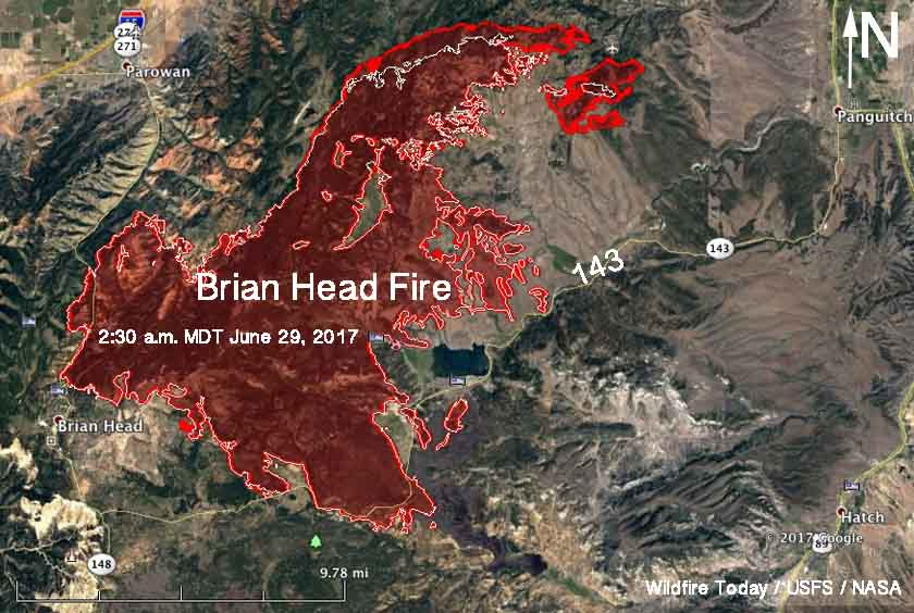 Map Brian Head Fire Utah