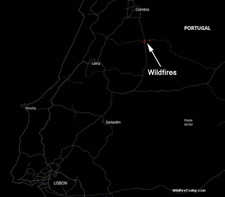 wildfires west of Pedrógão Grande in Portugal