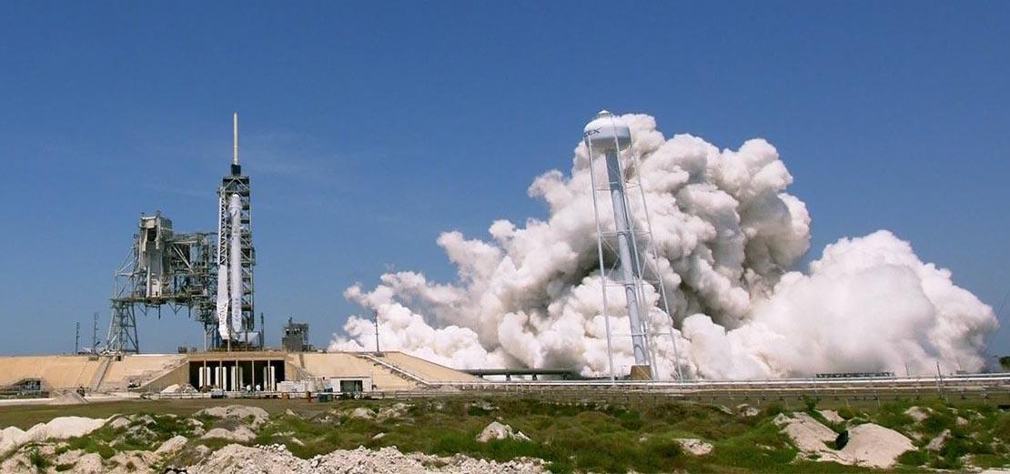 Static test firing SpaceX rocket