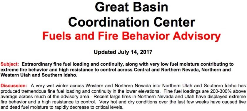Great basin fuels fire advisory