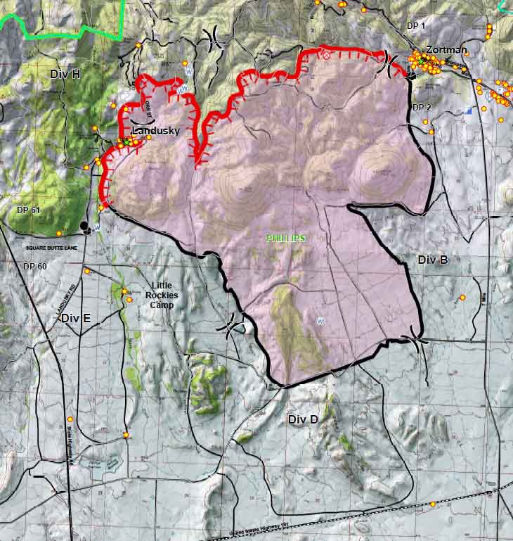 Lane Fire Map.July Fire Evacuations Lifted For Landusky Wildfire Today