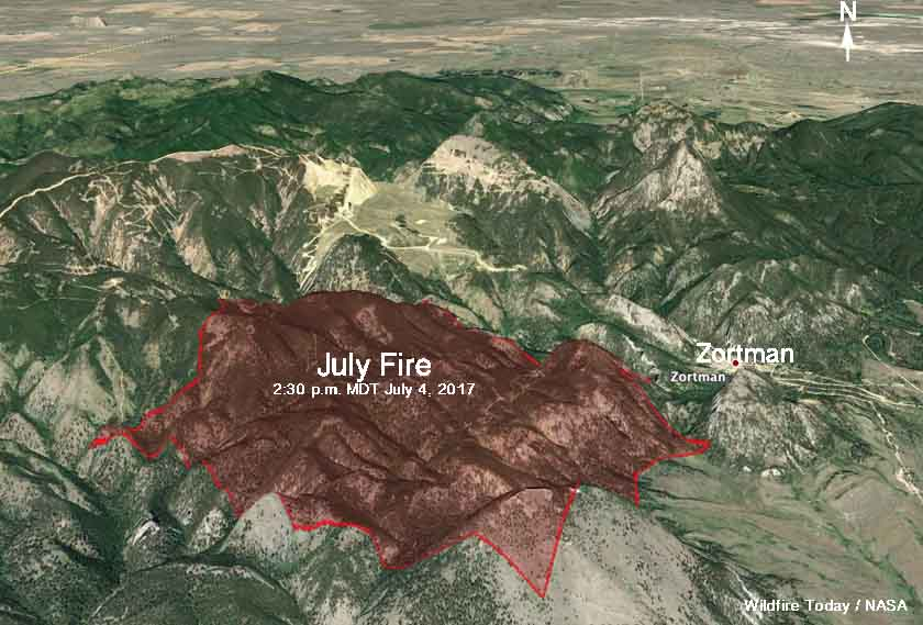 The July Fire Burns 1 000 Acres Near Zortman Montana Wildfire Today