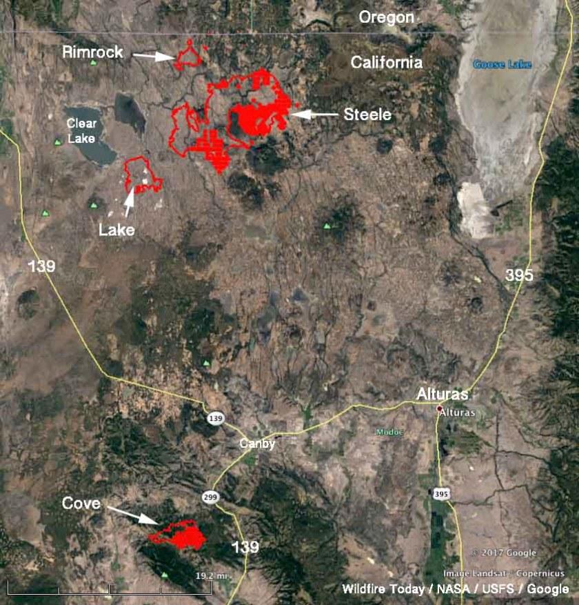 map Modoc July Complex fires California