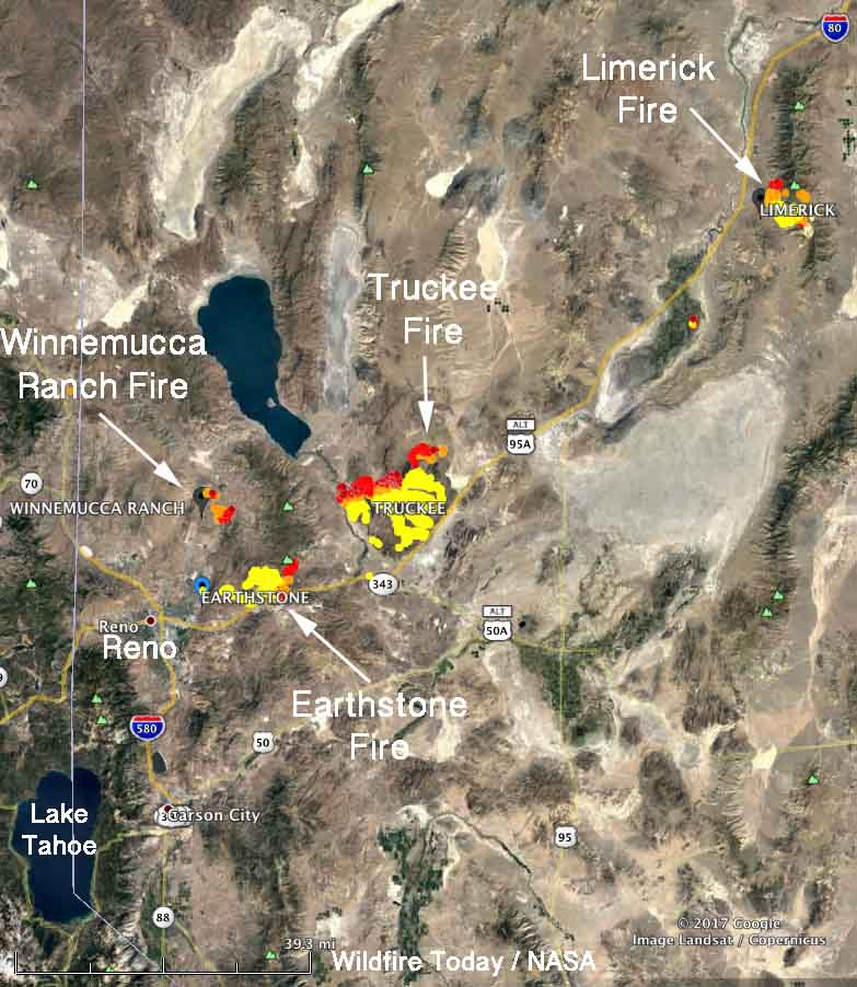 Map showing the four large wildfires in