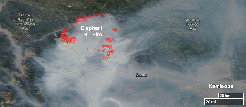 Elephant Hill Fire map