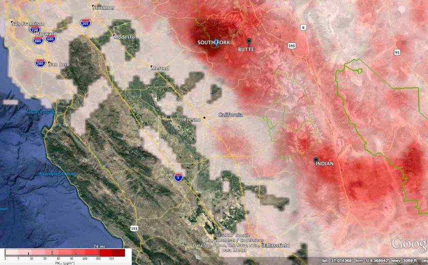 pm25 air quality california wildfire
