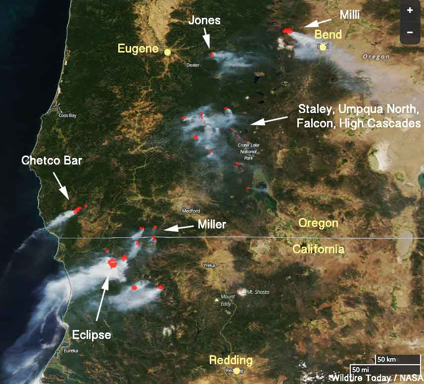 Wildfire activity continues in northwest California and southwest