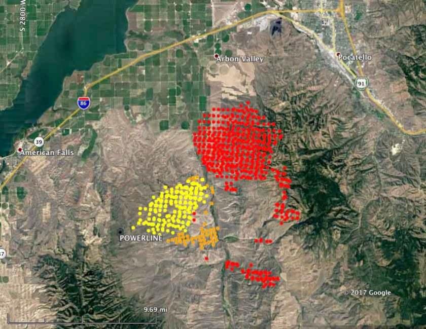 map powerline fire