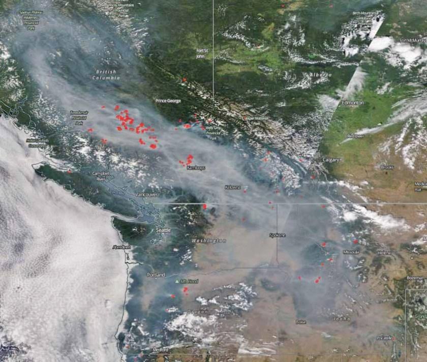 map smoke BC US wildfire