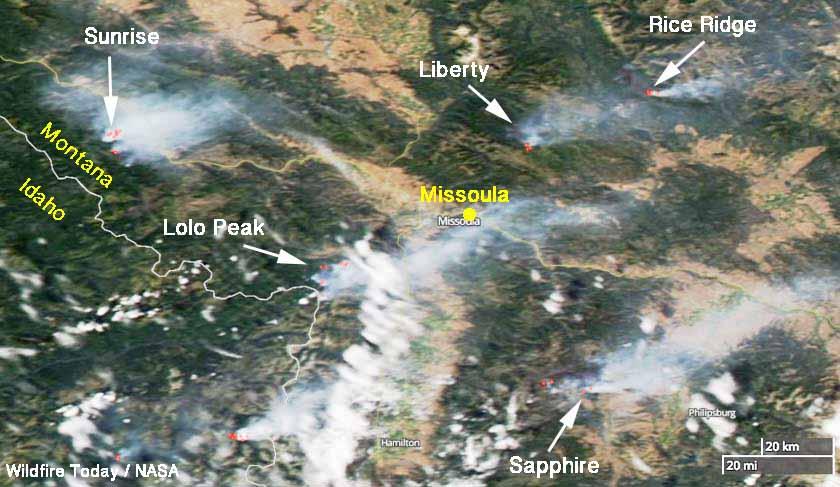 wildfires near Missoula, Montana