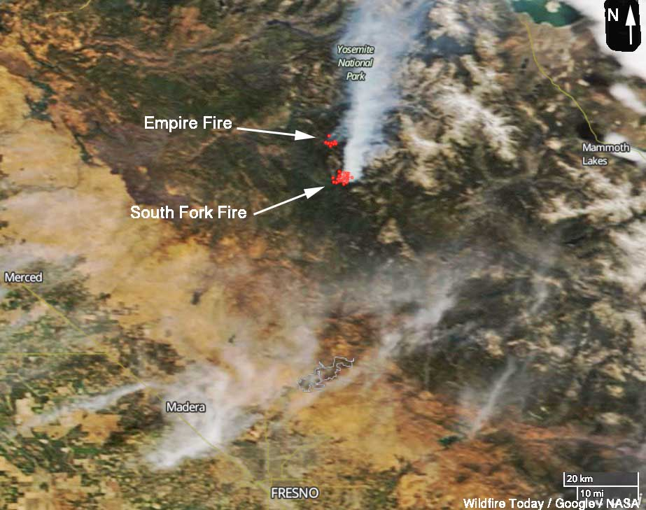 2 fires in Yosemite National Park, Empire and South Fork