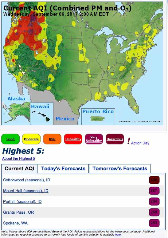 Wildfire Smoke Creates Unhealthy Air In The Northwest Us - Air-quality-map-of-us