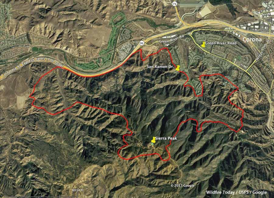 Updated map of the Canyon Fire near Corona, California