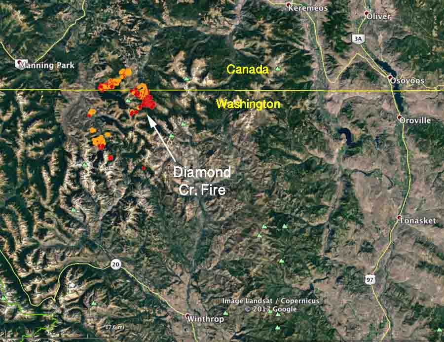 map diamond creek fire