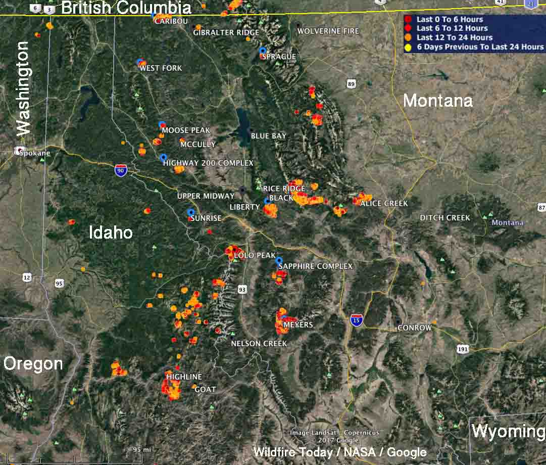 Dozens of wildfires very active in Montana and Idaho