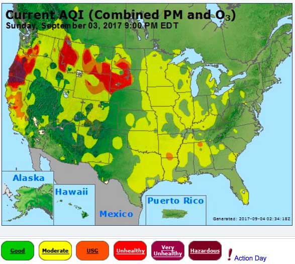 Air Quality United States Map.Wildfire Smoke Affects Northwestern And Central United States