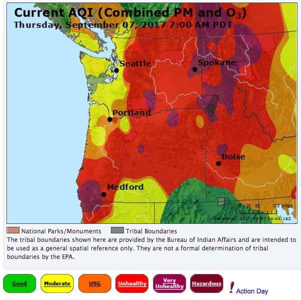 Air Quality Index Oregon Washington