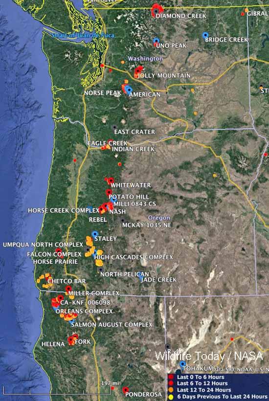 Large wildfires Washington Oregon northern California