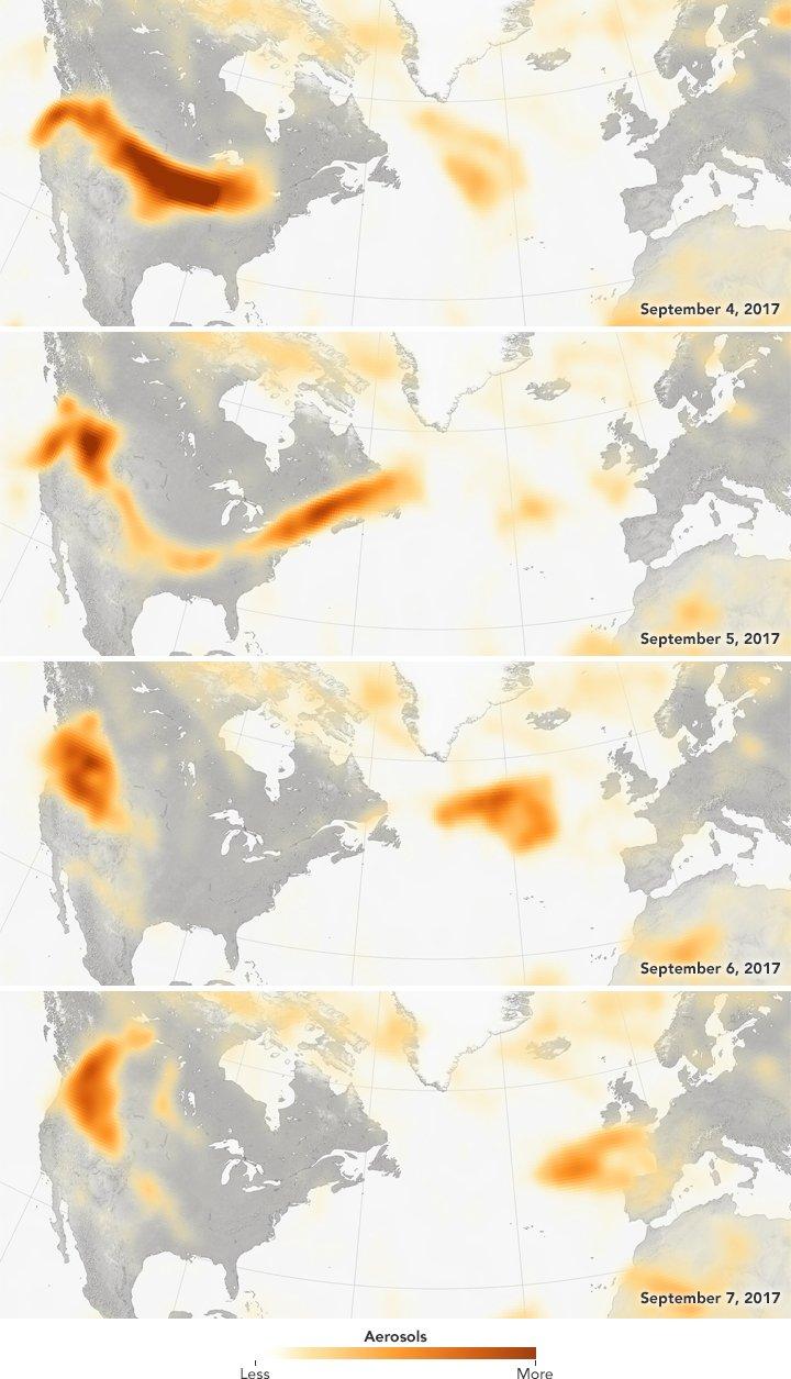 Wildfire smoke travels to Paris. NASA.
