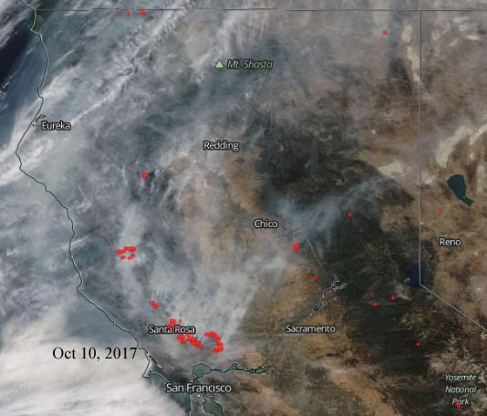 Satellite photo California wildfires